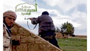 An Ugarit News video still shows Syrian rebels occupying Jarrah airfield in Aleppo province. photograph: afp
