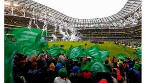 Some fans did make it in before the kick-off at the Aviva on Sunday, but the crowd failed to maintain the kind of fevered atmosphere that greeted Brian O'Driscoll try against France at the old Lansdowne Road in 2007. Photographs: Inpho/Eric Luke