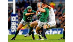 Ireland prop Cian Healy is tackled during last Sunday's Six Nations clash against England at the Aviva Stadium. Photograph: Stu Foster/Getty Images