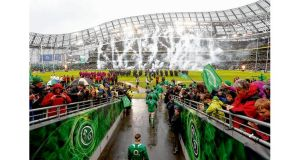 Ireland captain Jamie Heaslip leading the team out for the game against England at the Aviva Stadium on Sunday. Photograph: James Crombie/Inpho