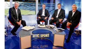 With his co-panellists Colm O'Rourke, Pat Spillane and presenter Michael Lyster on The Sunday Game