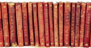 Burgundy leather-bound Shakespeare titles