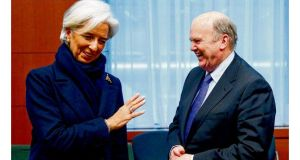 IMF managing director Christine Lagarde with Michael Noonan during a meeting of euro zone finance ministers on Monday. photograph: Reuters