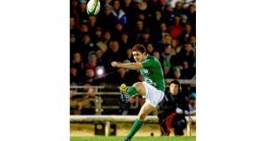 Paddy Jackson got a first taste of playing in a senior Ireland shirt when he lined out in the non-cap international against Fiji at Thomond Park last November. Photograph: Inpho/James Crombie