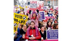 "A recent pro-life rally. ""The words in the Constitution should be interpreted as the same words would be understood in daily usage."" photograph: alan betson"