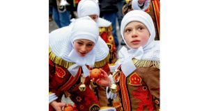 "Mardi gras fête des gilles in Binche: Unesco has declared the event a ""Masterpiece of the Oral and Intangible Heritage of Humanity""."