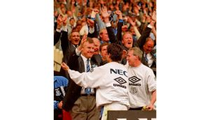 Everton manager Joe Royle celebrates after his side defeated Manchester United 1-0 in the 1995 FA Cup final at Wembley. Photograph: Clive Brunskill/Allsport