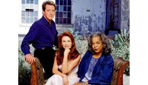 Roma Downey with 'Touched by an Angel' cast members John Dye and Della Reese. Photographs: Chris Maddaloni and Cliff Lipson/CBS