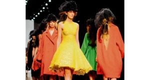 Bright colours on the catwalk during the John Rocha show at Somerset House on Saturday as part of London Fashion Week. photographs: dominic lipinski/pa, ian gavan/getty images
