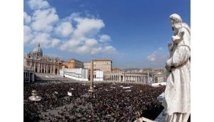 Thousands of pilgrims gather to listen to Pope Benedict XVI's Angelus prayer in St Peter's Square in the Vatican yesterday afternoon. photograph: gregorio borgia