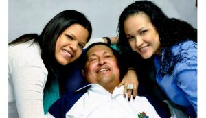 Venezuela President Hugo Chavez with his daughters, Maria Gabriela (left) and Rosa Virginia, in Cuba.