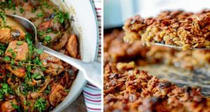 Chicken with sherry and mushrooms and apple and fig flapjacks. Photograph: Dara Mac Donaill