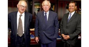 Maurice O'Connell, former Central Bank chief and Depfa director, with ex-Bundesbank president Prof Hans Tietmeyer and Gerhard Bruckermann, former Depfa chief executive. Mr O'Connell served on the Depfa board for five years until 2007.