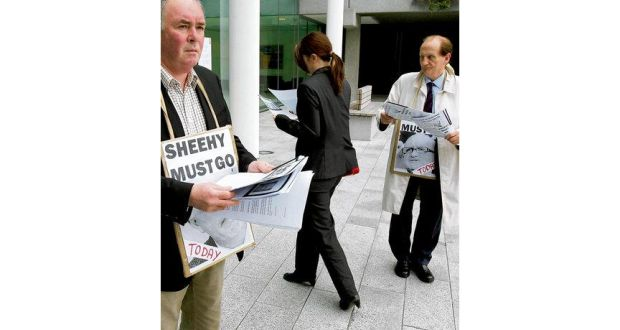 Disaffected Shareholders Hand Out Leaflets Before An AIB Egm In Ballsbridge Dublin Last May