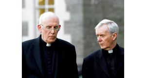 Catholic primate Cardinal Seán Brady (left) and Bishop John Fleming in conversation at Maynooth yesterday where both attended the bishops' conference.