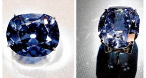 The Hope diamond (left) and Wittelsbach-Graff diamond: the latter has been recut by a jewel dealer - to the horror of many Germans