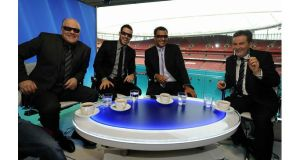 Andy Gray (far left) poses for photographs alongside Jamie Redknapp, Ruud Gullit and Richard Keys before the world's first live 3D television broadcast last year. Photograph: Christopher Lee/Getty Images