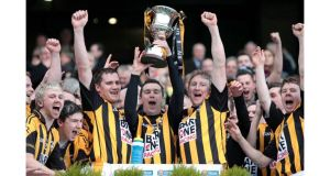 Crossmaglen Rangers' Oisin McConville lifts the cup after winning the All-Ireland SFC Club Championship final for the fifth time at Croke Park. Photograph: Cathal Noonan/Inpho