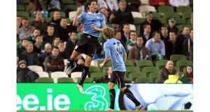 Edison Cavani of Uruguay celebrates scoring his side's second goal against the Republic of Ireland during last night's friendly international at Aviva Stadium. – (Photograph: Donall Farmer/Inpho)