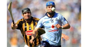 Kilkenny's Noel Hickey in pursuit of Dublin's Daire Plunkett during the Allianz National Hurling League Division 1 Final at Croke Park. Photograph: Donall Farmer/Inpho