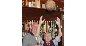 Jimmy Murray pictured in his pub in Knockroghery recently with Brian Mullins.