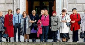 Magdalene women on their way into the Dáil for the debate on the McAleese report. photograph: alan betson