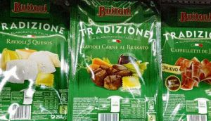 Packets of Buitoni meat ravioli on a supermarket shelf in Madrid. Nestlé said its own tests found traces of horse DNA in its Buitoni beef ravioli and beef tortellini chilled pastas. photograph: reuters