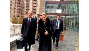 Gayle Killilea leaving court yesterday where she and her husband, Seán Dunne, are seeking information from Nama about the agency's view of Mr Dunne's business plan