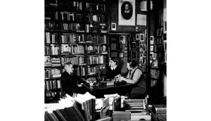 James Joyce with Sylvia Beach and Adrienne Monnier at the original Shakespeare and Company in 1938. photographs: luis davilla/cover/ getty, gisele freund/time life/ getty and matt kavanagh