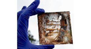 A glass plate slide found during excavations at a house in Fairview. photograph: brenda fitzsimons