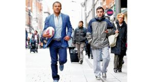 Jason Robinson paid a fleeting visit to Dublin yesterday, fulfilling his role as brand ambassador for the men's clothing label Gagliardi at Arnotts. Photograph: Marc O'Sullivan