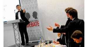 Eoin O'Liathain (TCD Phil) opens the Irish Times Debate. photograph: pacemaker