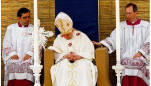 Pope Benedict nods off at a Mass in 2010. photograph: darrin zammit lupi/reuters