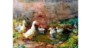 Mildred Anne Butler's watercolour Ducks On A Pond At Kilmurry