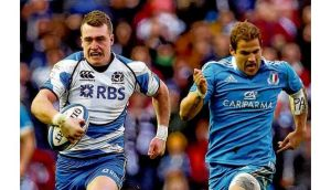 Scotland's Stuart Hogg on his way to scoring a try in their impressive victory over Italy at Murrayfield a fortnight ago. photograph: ian macnicol/getty images