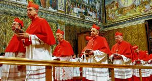 Cardinals go to Sistine Chapel in the Vatican to begin conclave before the election of Pope Benedict XVI in 2005