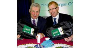 Minister of State Fergus O'Dowd and Ciaran Byrne, CEO of Inland Fisheries Ireland, launch the Angler Disinfection Kit at the Angling Expo Show in Swords, Co Dublin