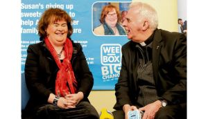 Singer Susan Boyle and Cardinal Keith O'Brien launch the Scottish Catholic Internat- ional Aid Fund Lenten campaign in Glasgow two weeks ago. photograph: danny lawson