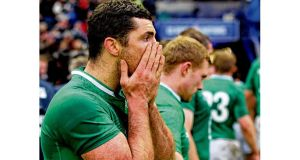 Rob Kearney looks dejected after yesterday's 12-8 Six Nations defeat to Scotland at Murrayfield. Photograph: Lynne Cameron/PA Wire