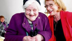 Tenant Josephine Loughlin O'Farrell with Jan O'Sullivan. photograph: don moloney/press 22