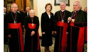 Cardinal Keith O'Brien with president Mary McAleese and Cardinals Desmond Connell, Cahal Daly and Seán Brady at the Irish College in Rome in 2007. photographs: dara mac donaill; reuters