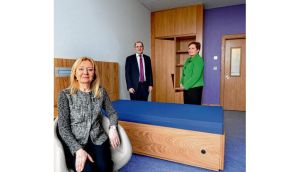 Dr Margo Wrigley, executive clinical director, left, with Seán Tone, area director of nursing, and Carmel Kitching, mental health manager, in one of the bedrooms. The centre will replace Grangegorman after 200 years of operation. photographs: brenda fitzsimons