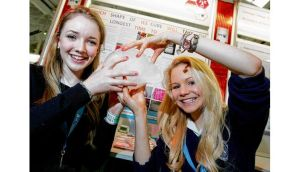 Ellen Gormley and Danielle Dawson at last year's Young Scientist exhibition