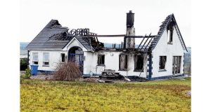 A house at Ballyshannon, Co Donegal that was destroyed by fire days before members of the Traveller community were due to move in. photograph: thomas gallagher
