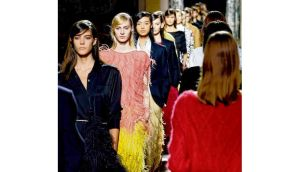 Models present creations by Belgian designer Dries Van Noten at the Hotel de Ville as part of his ready-to-wear winter collection during Paris fashion week yesterday. photograph: benoit tessier/reuters