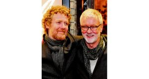 Glen Hansard and John Harte at the opening night of Once in the Gaiety Theatre, Dublin. photograph: aidan crawley