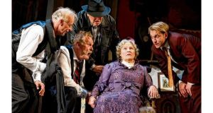 Paul Brown (Prof Marcus), Clive Mantle (Mjr Courtney), Chris McCalphy (One-Round), Michele Dotrice (Mrs Wilberforce), and William Troughton (Harry) in The Ladykillers.