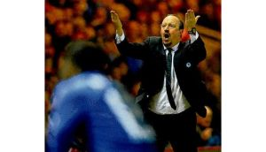 Chelsea interim manager Rafael Benitez shouts out instructions during last night's game. Benitez has confirmed he will leave the club at the end of the season.