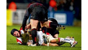 Ulster's Stephen Ferris sustains his ankle injury against Edinburgh last November. The player underwent his second surgery of the season yesterday.