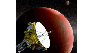 An artist's drawing shows the New Horizons spacecraft as it nears Pluto. The moon Charon is in the distance. Photograph: Johns Hopkins Applied Physics Laboratory